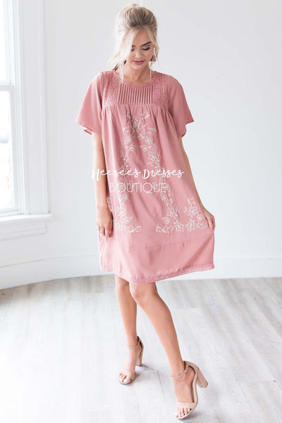 The Paige Embroidered Shift Dress Modest Dresses vendor-unknown