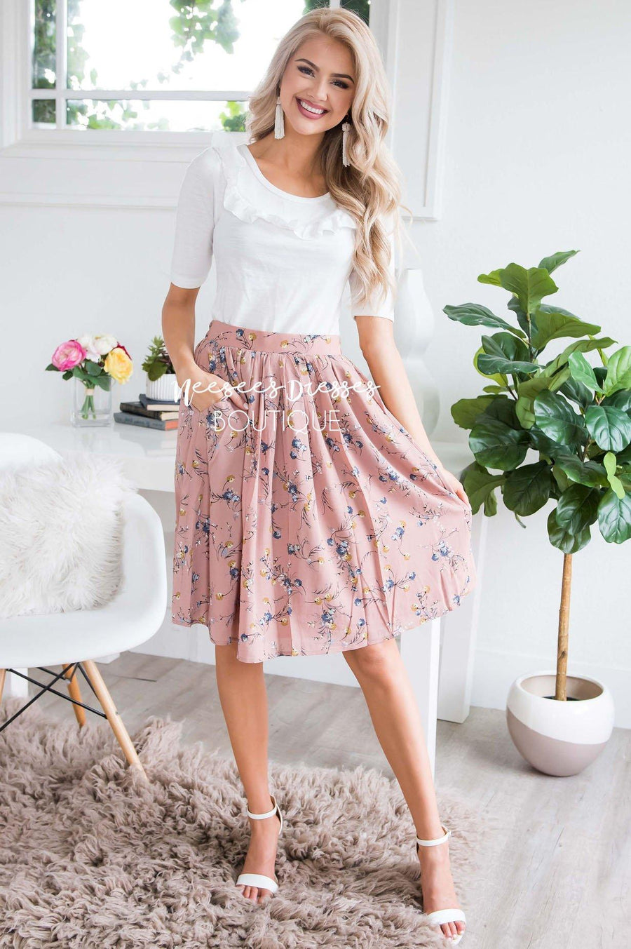 Dusty Pink & Powder Blue Floral Chiffon Skirt
