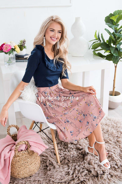 Dusty Pink & Powder Blue Floral Chiffon Skirt Skirts vendor-unknown
