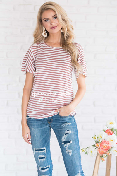 Ruffle Sleeve Scoop Neck Tee Tops vendor-unknown