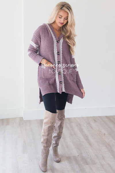 Cable Knit Lace Detail Bow Button Cardigan Tops vendor-unknown