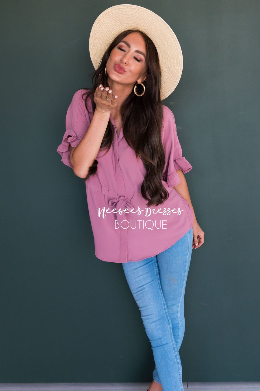 Button Up Cinched Waist Blouse