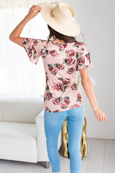 Mauve Floral Modest Ruffle Sleeve Top Tops vendor-unknown