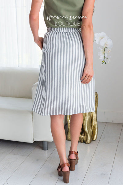 Black & White Striped Button Detail Skirt Skirts vendor-unknown