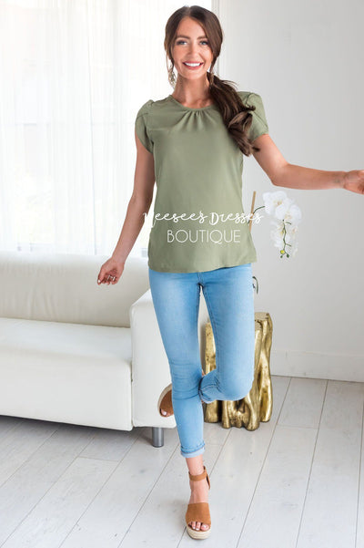 Dusty Sage Chiffon Tulip Sleeve Top Tops vendor-unknown