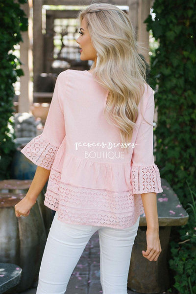 Baby Doll Eyelet Lace Bell Sleeve Top