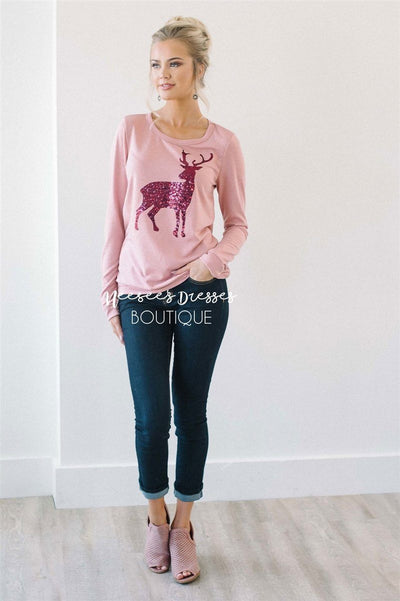 Pink Sequin Reindeer Sweater