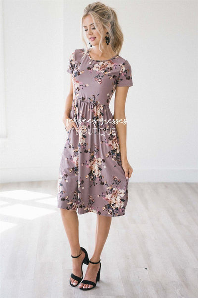 The Melody in Short Sleeves Modest Dresses vendor-unknown Dusty Lilac S
