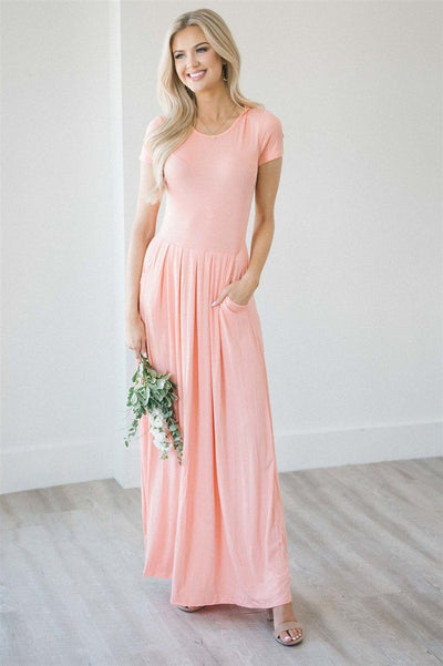Short Sleeve Pleated Maxi Dress Modest Dresses vendor-unknown S Peach