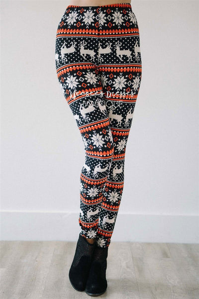 Rudolph Snowflake Christmas Leggings Accessories & Shoes vendor-unknown