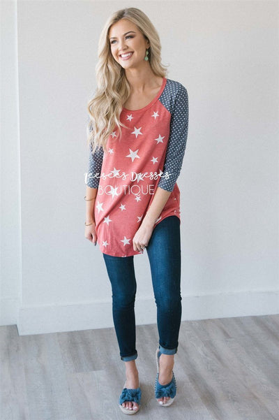 Stars & Polka Dots Baseball Sleeve Top Red White & Blue vendor-unknown S Red/ Ivory Stars