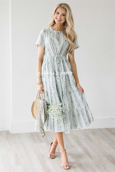 The Melina Modest Dresses vendor-unknown Small/Medium Dusty Sage Floral Paisley Print
