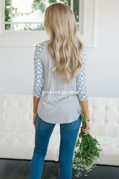 Ivory Tile Print Baseball Sleeve Top Tops vendor-unknown