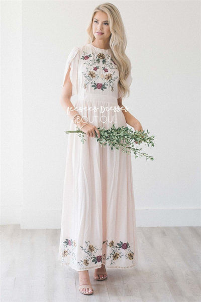 The Camden Modest Dresses vendor-unknown Cream with Gold & Amber Embroidered Floral S