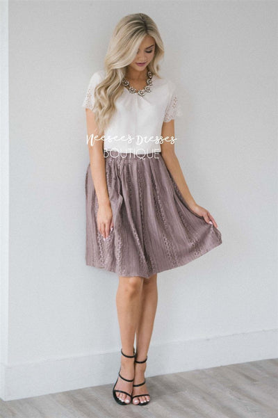 Pretty Dusty Mauve Lace Skirt Skirts vendor-unknown