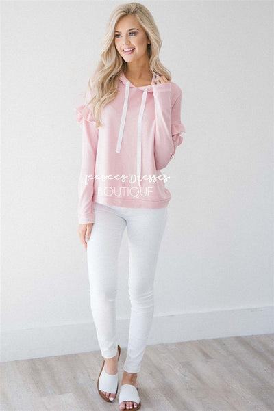 Ruffle Detail Long Sleeve Hoodie Tops vendor-unknown