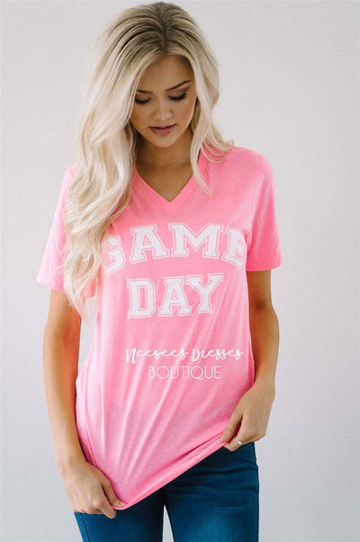 Game Day Tee Tops vendor-unknown Game Day Tee - Pink - S