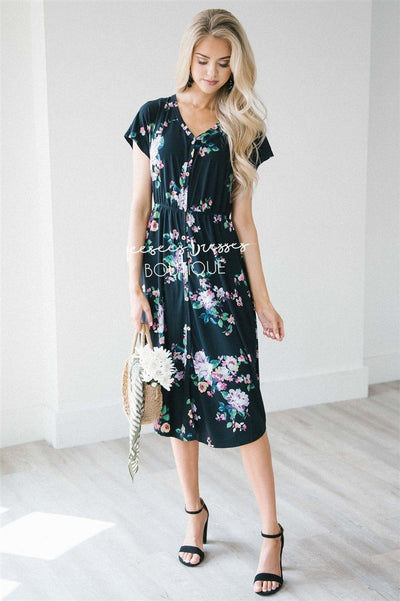 The Lizzy Modest Dresses vendor-unknown S Black Floral