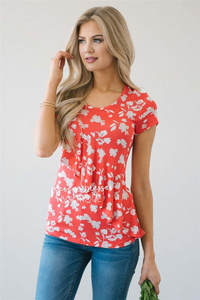 Asymmetric Ruffle Front Floral Top Tops vendor-unknown Poppy Red XS