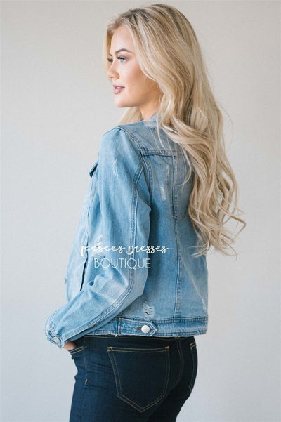 Light Denim Distressed Jean Jacket Tops vendor-unknown