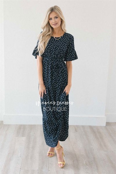 Polka Dot Flutter Sleeve Tiered Maxi Dress Modest Dresses vendor-unknown