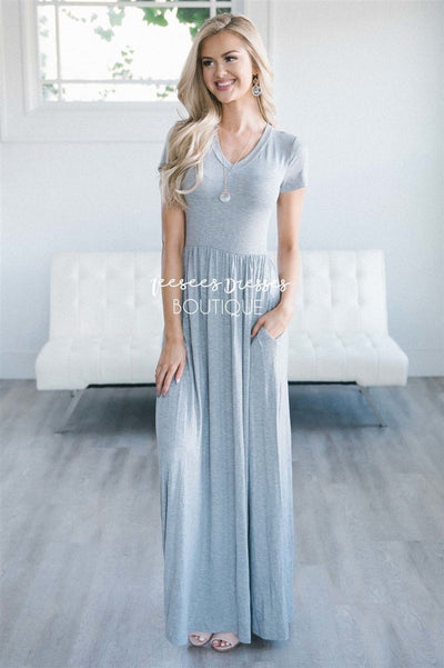 The Luella V Neck Maxi Dress Modest Dresses vendor-unknown S Gray