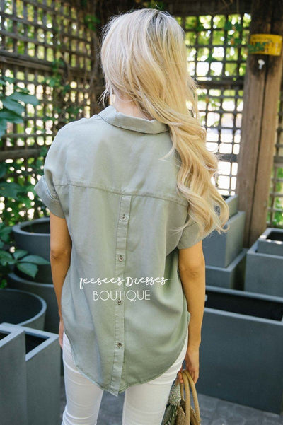 V Neck Button Back Blouse Tops vendor-unknown