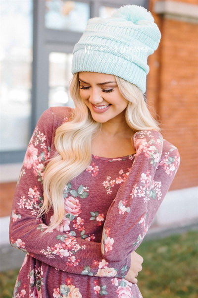 Mint Pom-Pom Knit Beanie Accessories & Shoes Leto Accessories