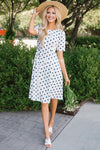 The Gretta Modest Dresses vendor-unknown S Ivory & Navy Polka Dot