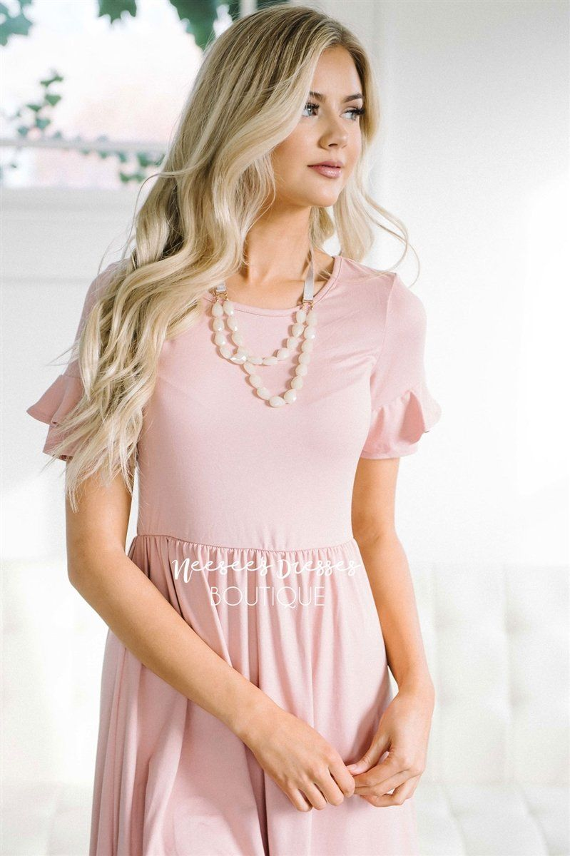The Nessa Modest Dresses vendor-unknown Pink XS