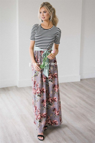 The Gabby Modest Dresses vendor-unknown S Black & White Stripes/ Dusty Lilac Floral