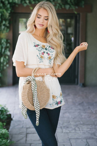 Floral Embroidered Cream Flowy Blouse Tops vendor-unknown