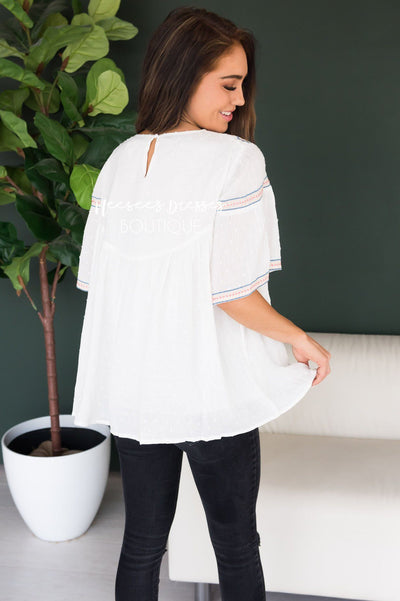 It's Go Time Modest Embroidered Blouse Tops vendor-unknown