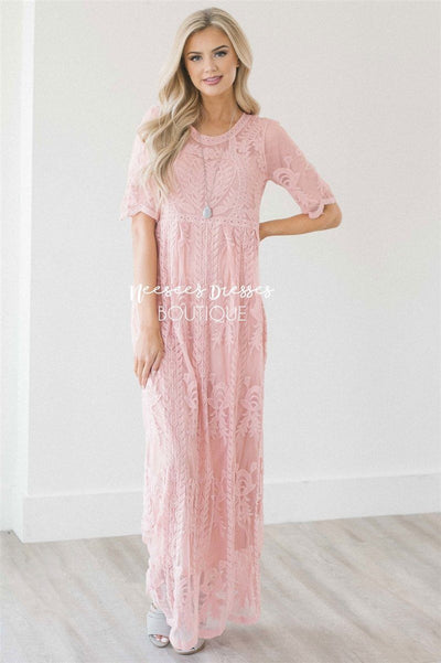 Day Dreamer Lace Full Length Dress Modest Dresses vendor-unknown Dusty Pink Small/Medium