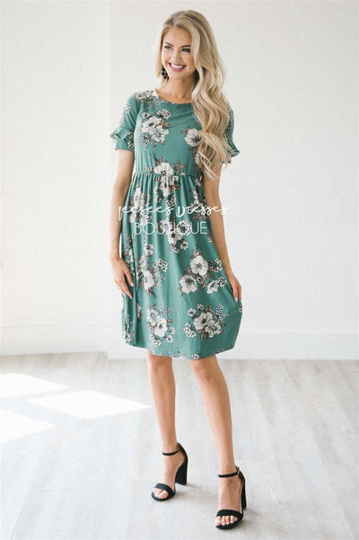 The Nessa Modest Dresses vendor-unknown Emerald Floral XS