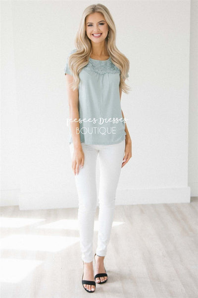 Lace Trim Short Sleeve Top Tops vendor-unknown