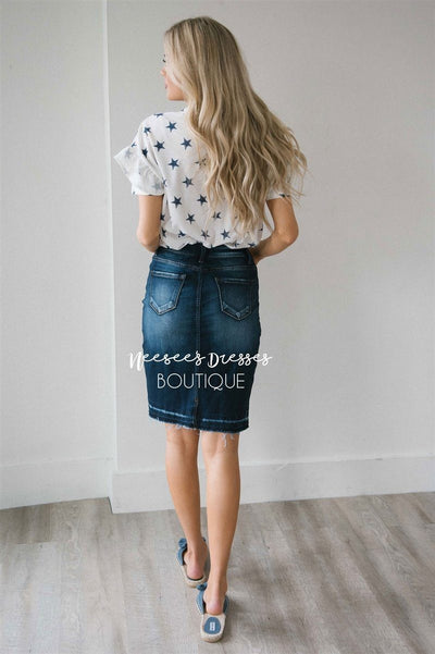 Dark Indigo Denim Skirt NEW vendor-unknown