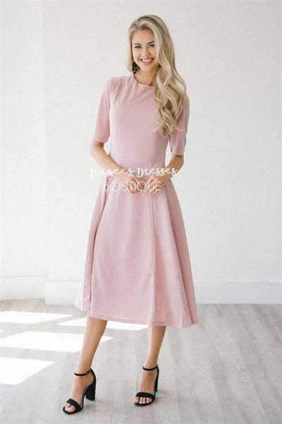The Riya Modest Dresses vendor-unknown Dusty Pink S