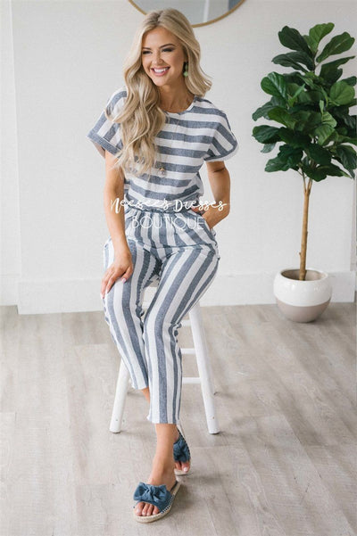 Dusty Navy Striped Jumpsuit Modest Dresses vendor-unknown S Dusty Navy