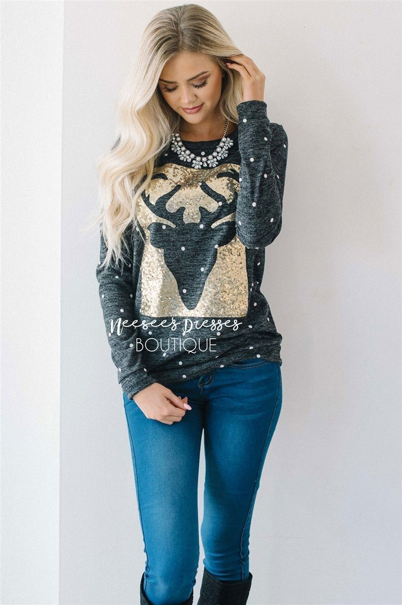 Sequin Reindeer Polka Dot Sweater