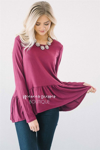 Peplum Ruffle Long Sleeve Top Tops vendor-unknown