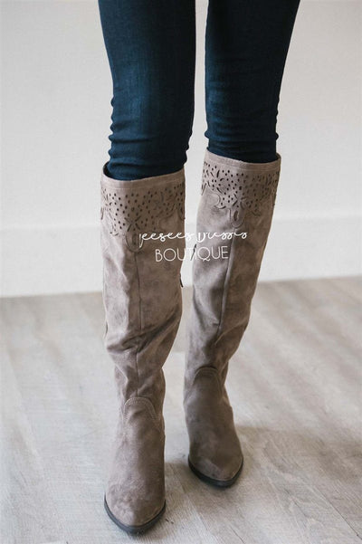 The Maddie Lace Trim Boot Accessories & Shoes vendor-unknown Taupe 6