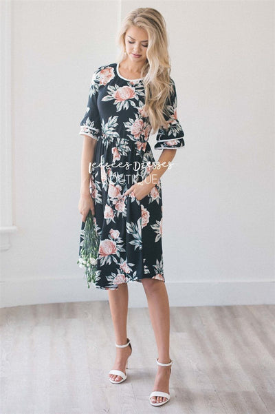 Black Floral Ruffle Sleeve Easter Dress Best Place To Buy Modest