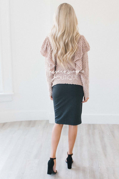 Turtle Neck Ruffle Shoulder Sweater