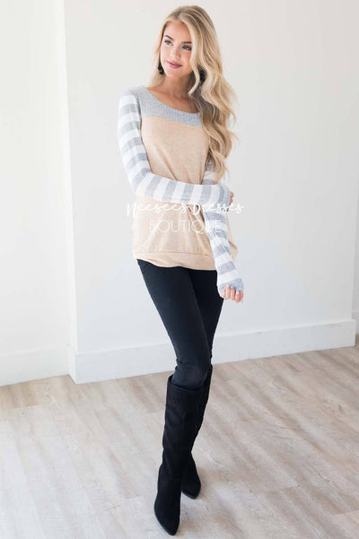 Strongest Love Stripe Sleeve Top Tops vendor-unknown