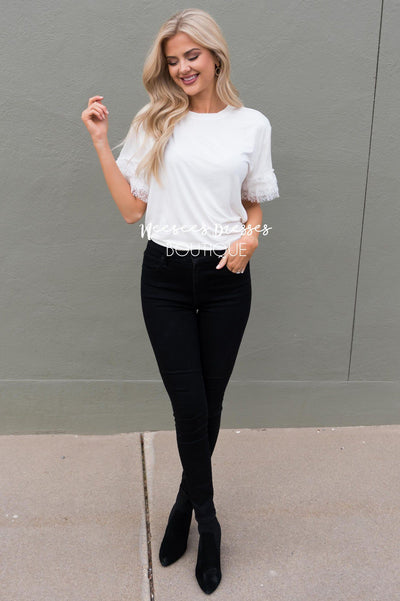 Faint of Heart Lace Sleeve Top Tops vendor-unknown
