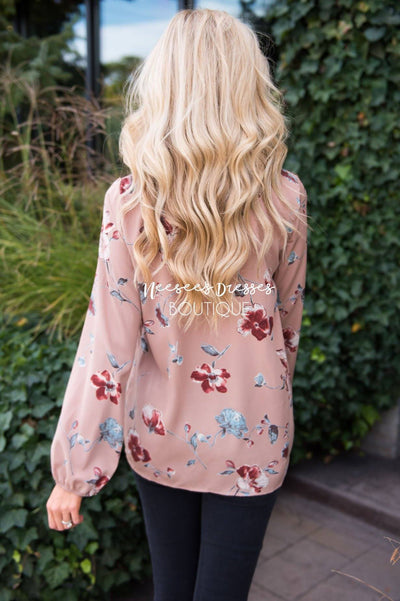 Falling for Floral Neck Tie Blouse Modest Dresses vendor-unknown