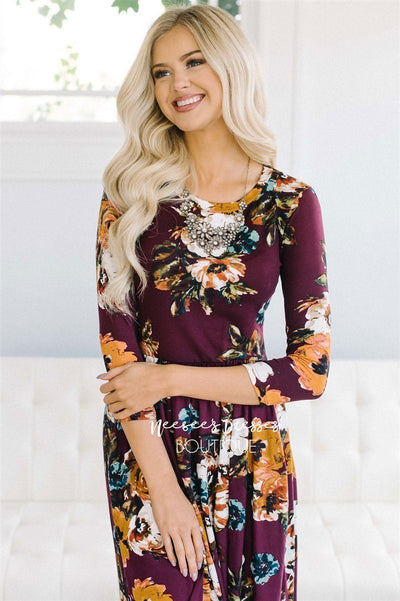 Burgundy Watercolor Floral Maxi Dress Modest Dresses vendor-unknown