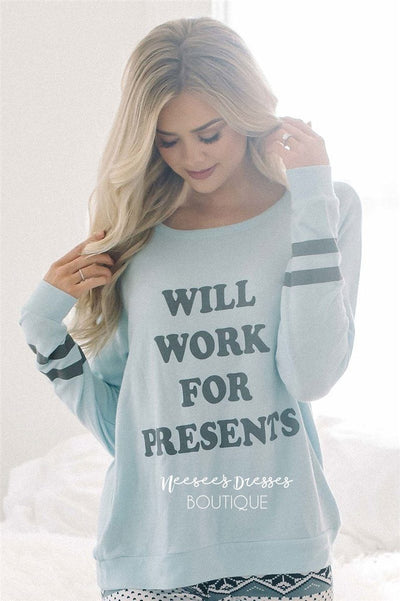 Will Work for Presents Ice Blue Sweater New Year SALE vendor-unknown