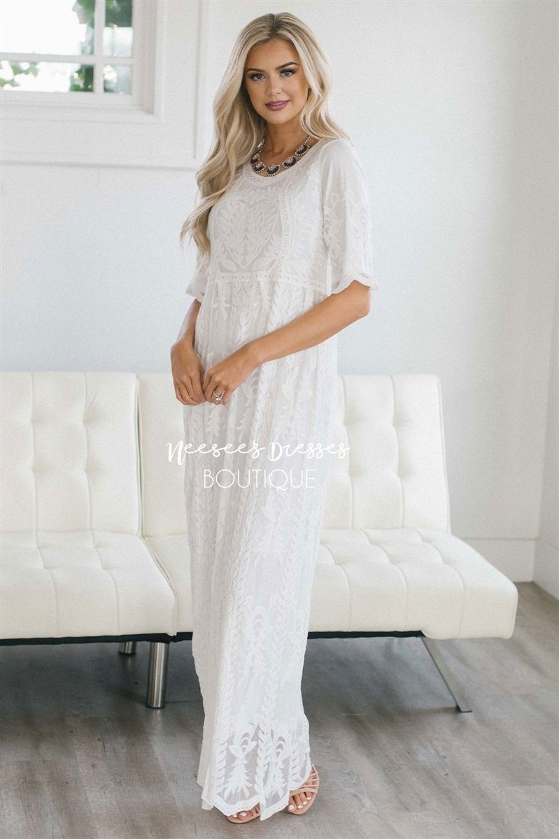 93a89b21b Day Dreamer Lace Full Length Dress Modest Dresses vendor-unknown White/Half  Sleeves XL